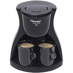 Bestron Cafetière duo électrique avec 2 tasses incluses, Pour café filtre moulu, 450 W, Noir