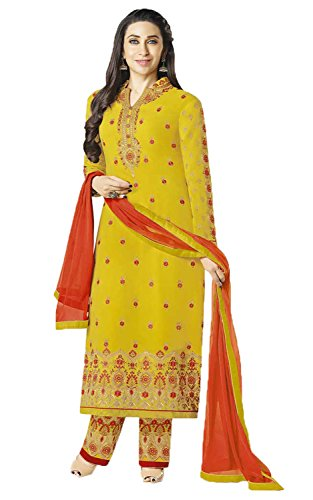 Jesti Designer Women's Faux Georgette Yellow Embroidery Gown Latest Party Wear Designe...