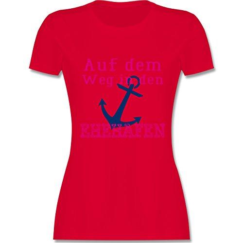 JGA Junggesellinnenabschied - Auf dem Weg in den Ehehafen - tailliertes Premium T-Shirt mit Rundhalsausschnitt für Damen Rot