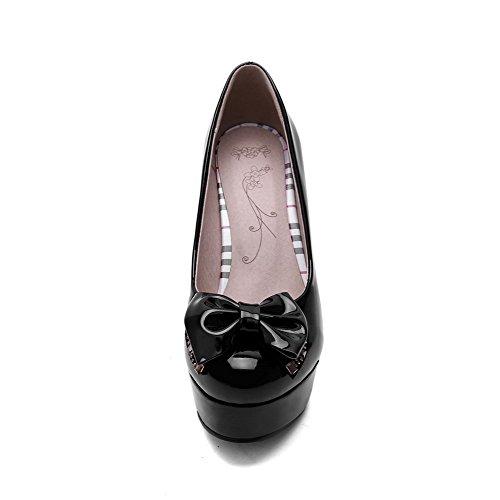AllhqFashion Femme Pu Cuir Mosaïque Tire Rond à Talon Haut Chaussures Légeres Noir