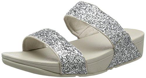 Fitflop Damen Glitterball Slide Sandalen mit Absatz, Silver (Silver Glitter), 39 EU