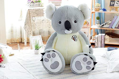 Mjia Pillow Cuscino Peluche per bebé / Bambini / Bambini / Adulti, Grande Peluche farcito, Cuscino Koala Carino, Grigio, 90cm