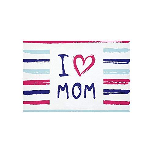Tapisserie Vektor ich liebe dich Mom Phrase mit einem Herzen Wandteppiche Wandbehang Blume psychedelischen Wandbehang Wandbehang indischen Wohnheim Dekor für Wohnzimmer Schlafzimmer 60 x 40 Zoll