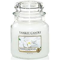 Yankee candle 1230625E White Gardenia Candele in giara media, Vetro, Bianco, 10.1x9.8x13.2 cm