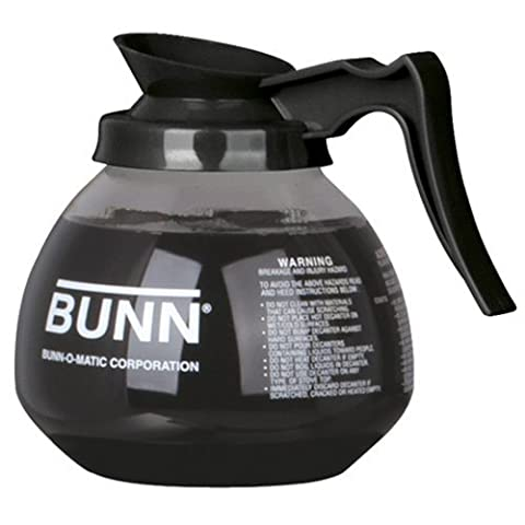 BUNN Coffee Pot Decanter / Carafe Black Regular - New Glass Design Shape - Ergonomic Handle - 12 Cup Capacity - by (Bunn Decanter)