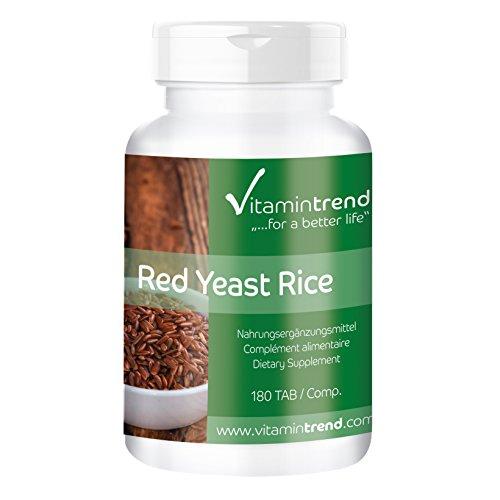 Levadura de arroz rojo - Bote para 6 MESES - 4,5 mg de monacolina K por tableta – 180 tabletas – ayuda a conseguir niveles normales de colesterol