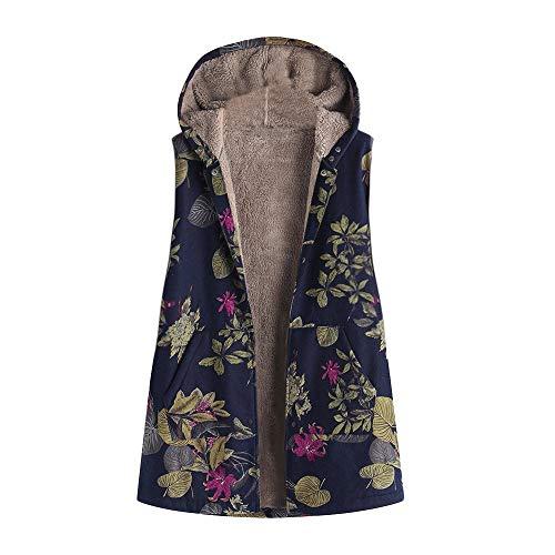 iHENGH Damen Herbst Winter Bequem Lässig Mode Frauen Winter Warm Outwear Blumendruck Mit Kapuze Taschen Vintage Übergröße Mantel Weste(Marine, 3XL) -