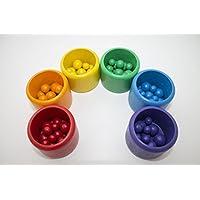 Neu Sortierspiel Montessori Kugeln Regenbogenfarben Waldorf Pikler Farben Geschenk Kindergarten Kita Lernspiel Becher Sortieren