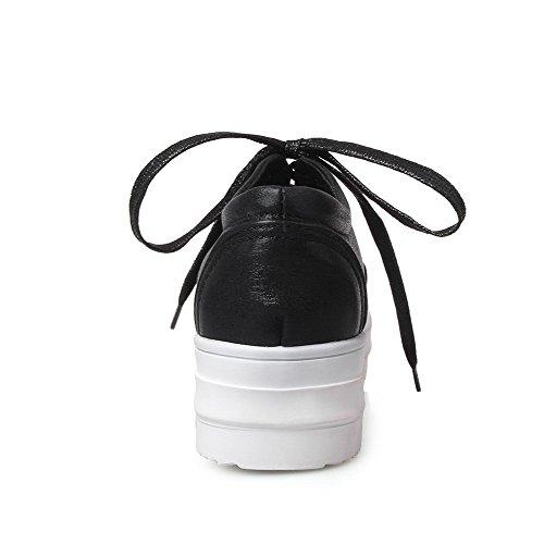 VogueZone009 Femme Pu Cuir Lacet Rond à Talon Bas Chaussures Légeres Noir