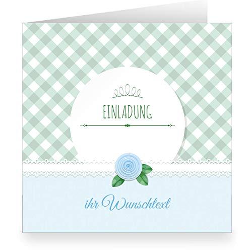 12 x Festliche hellblaue Einladungskarte mit Wunschtext und Innendruck/Vordruck zum Ausfüllen (quadratisch, 15,5x15,5cm inkl Umschlag) - Taufe, Erstkommunion, Einschulung, Firmung