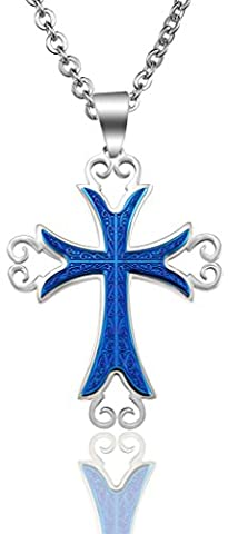 Stainless Steel Necklaces, Men's Chain Pendant Latin Cross Fleuree Ivy Rood 5...