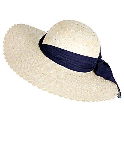 Fiebig Damenstrohhut Strohhut Sommerhut Sonnenhut Urlaubshut Strandhut große Form Hut mit Chiffonband Schleife für Frauen (FI-69481-S17-DA0-16-OS) in Marine, Größe OS inkl. (Star Pop Kind Der Kostüm)