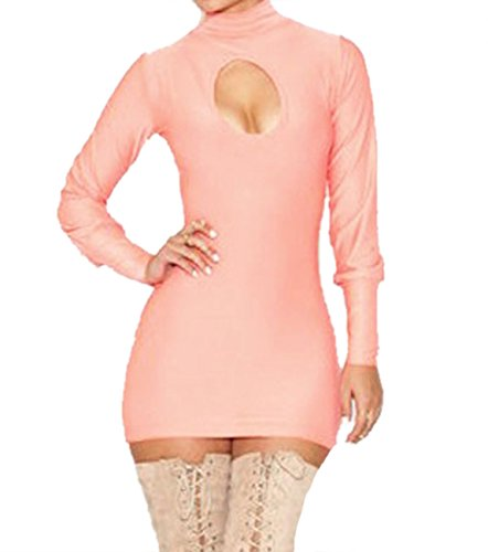 E-Girl Ruddy Rose col haut Hollow out Bodycon Mini robe,Rose Rose