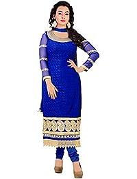 Purva Art Women's Blue Shiffli Salwar Suit Dress For Girls (PA_1512_BSWD)