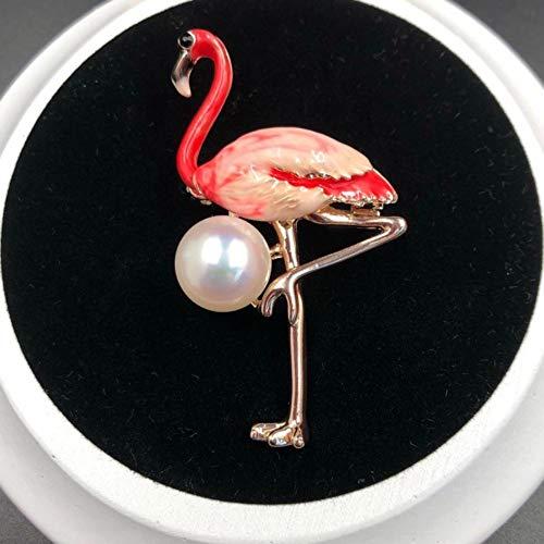Hirsch Brosche Mode Sikawild Perle Brosche mit Zubehör Pin Pullover Mantel Schal Schnalle Kleidung, Flamingo A