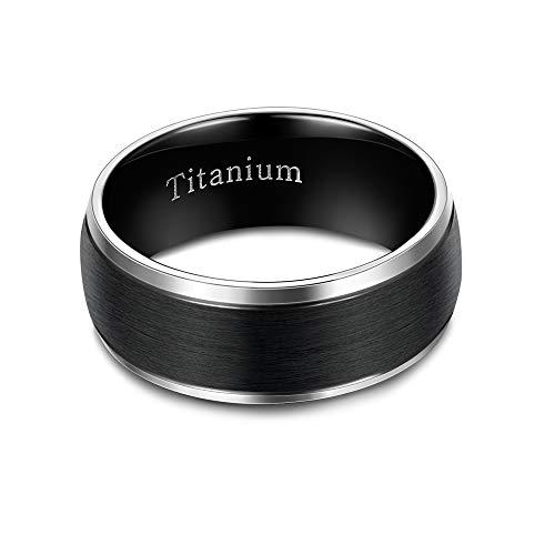 sailimue 6/8MM Titan Ring Damen Herren Engagement Verlobung Ring Valentinstag, Geburtstags Geschenk Ringe Schwarz Ring 49~70 (Herren Titan Ringe 6 Mm)