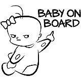 EROSPA Auto-Aufkleber KFZ - Baby On Board - Car-Sticker (Schwarz)