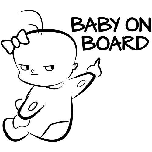 EROSPA® Auto-Aufkleber KFZ - Baby On Board - Car-Sticker (Schwarz)