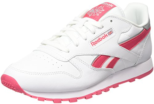 Reebok Classic Leather, Chaussures de Running Entrainement Garçon Blanc (Reflect White/Fearless Pink/Silver Met)