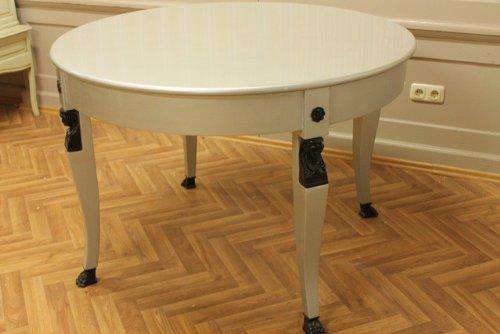 LouisXV Table Ronde Baroque Blanc Rococo MoCoC0110Si