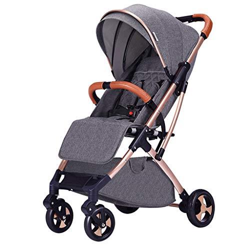 AILI Standardkinderwagen Kinderwagen Licht kann Klapp Kinderwagen Regenschirm Vier Rad Trolley liegend Faltbare tragbare sitzen Baby Kinderwagen Buggys (Color : Gray, Größe : 39 * 26 * 19 inches)