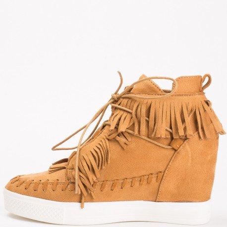 Ideal Shoes - Baskets semi-compensées effet daim avec franges Medeline Camel