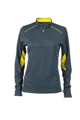 JAMES & NICHOLSON Ladies Running Shirt - T-shirt de Maternité - Femme Jaune (Iron Grey/Lemon)