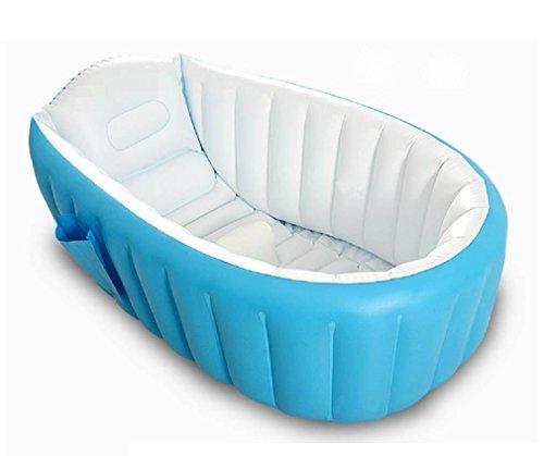 GAOJIAN Bañera Inflable para Baño Baño Plegable Portátil Baño para Baño de Bebé Recién Nacido con Cojín Suave Asiento Central (Azul) , a