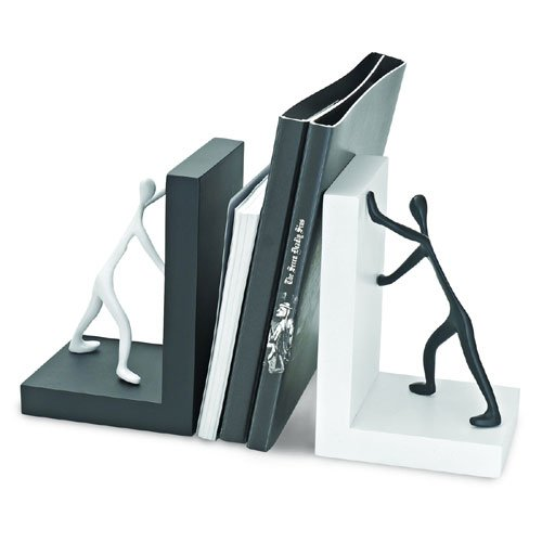 Wooden Bookends Men Pushing Books Wooden Bookends for Office Home Living room Friends Home Decor