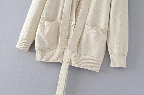 WTUS - Veste En Maille - Manches Longues - Femme Automne Et Hiver Nouveau Blanc