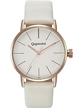 Gigandet Damen-Armbanduhr Minimalism Quarz Uhr Analog Lederarmband Rotgold Weiß G43-012