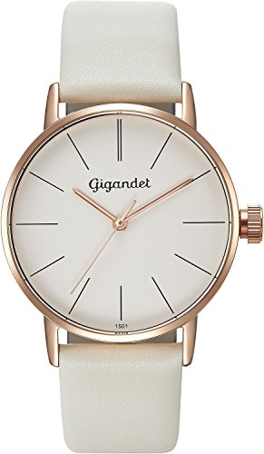 Gigandet Women's Quartz Wrist Watch Minimalism Analogue Leather Strap Rose Gold White G43-012