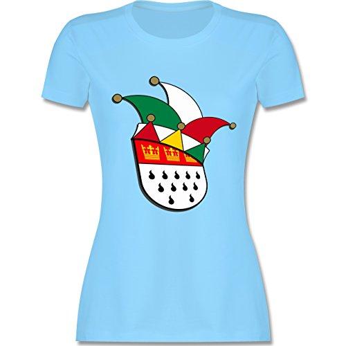 Karneval & Fasching - Köln Wappen Narrenkappe - tailliertes Premium T-Shirt mit Rundhalsausschnitt für Damen Hellblau