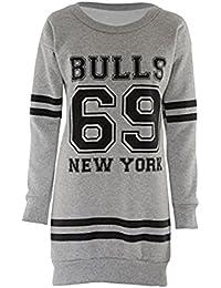 Chocolate Pickle ® Les nouvelles femmes à manches longues Basketball surdimensionnés mini robe Swearshirt Cavaliers 36-50
