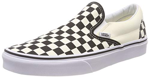 Vans U Classic VEYEBWW Unisex-Erwachsene Sneaker,Schwarz (black and white checker/white), EU 40.5(US 8) - Schuhe Slip-on Herren Vans White