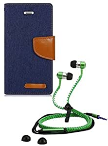 Aart Fancy Wallet Dairy Jeans Flip Case Cover for MotorolaMotorola-MotoG (NavyBlue) + Zipper Earphones/Hands free With Mic *Stylish Design* for all Mobiles- computers & laptops By Aart Store.
