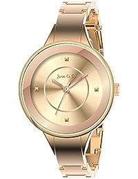 June & Ed Cuarzo Rosa Oro Correa Reloj de pulsera para Mujer W-0001