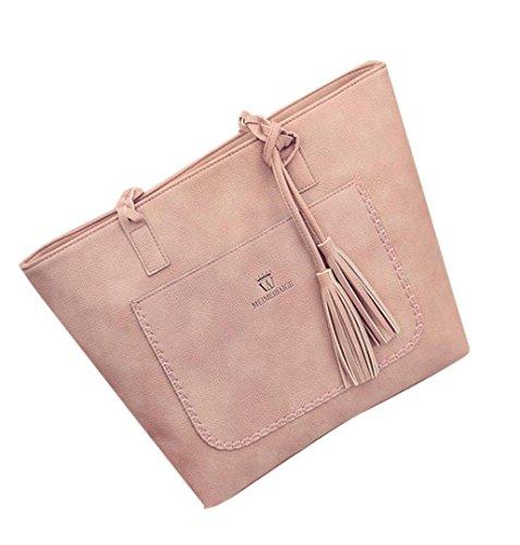 LuckES Bolso de Bolos de Piel y Nylon de Primera Calidad Hobos Bolso de Mano Ligero Bolsos de Compras Impermeables Mujer Moda Lona Bolsa de Hombro Casual Totalizador (Rosa)