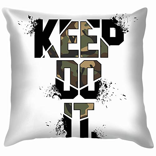 Keep Do Camouflage Slogan Military Typography Design Beauty Fashion Funny Square Throw Pillow Cases Cushion Cover for Bedroom Living Room Decorative 18X18 Inch (Cooles Deck Patch)