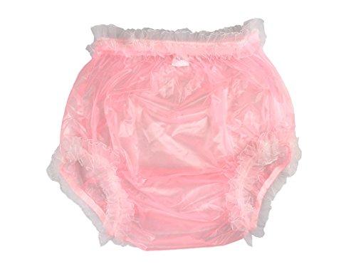 terhosen, für Erwachsene, aus Kunststoff und Spitze, farbig transparent, Rosa mit weißer Spitze ()