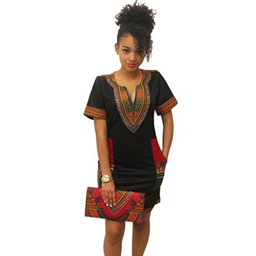 Donne sexy stile etnico stampa v-colletto casual abito manica corta, yanhoo® estete donna vestito pizzo lunghe cerimonia lungo abito arruffato elegante bendare (m, nero1)