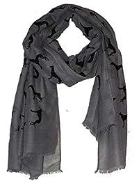 83f97d199aa0 Gris avec grande écharpe lévrier noir long avec un bored effiloché -- Grey  with black