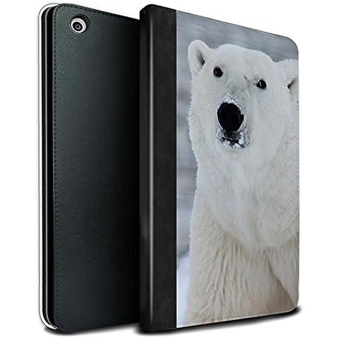 Stuff4 PU Cuero Funda/Carcasa/Folio Libro en Para el Apple iPad Mini 1/2/3 tablet / serie: Ártico Animales - Blanco Oso Polar