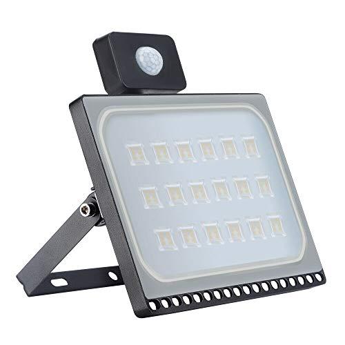 Halogen-bewegungs-flutlicht (100W Ultradünne Bewegungs-Sensor-Licht, LED im Freien Super Helles Sicherheits-Licht, Wasserdichtes IP65,10000LM 2800-3500K PIR-Flutlicht Wechselstrom 220-240V [Energieeinsparung] (Warmweiß, 100W))