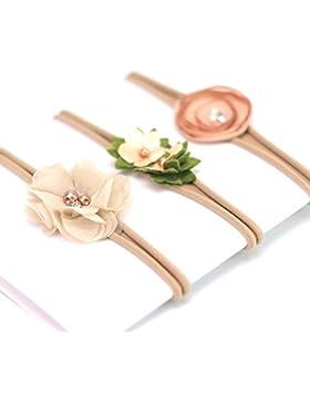 [Patrocinado]Venda de nylon del bebé / venda floral del pelo - diseño elástico suave del diseño de 3 (caqui)