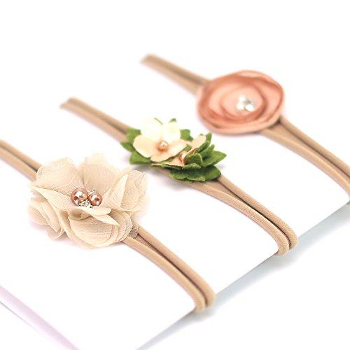 Fascia per neonate in nylon, per capelli, con motivo floreale, design elastico delicato, confezione da 3 pezzi, khaki, taglia unica