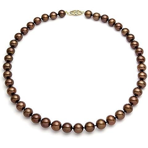 14 K amarillo oro clásico collar de perlas cultivadas de agua dulce de cacao calidad AAA (6,5-7