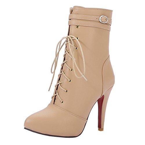 YE Damen Stiletto Ankle Boots Plateau High Heels Stiefeletten mit Schnürung Reißverschluss und...
