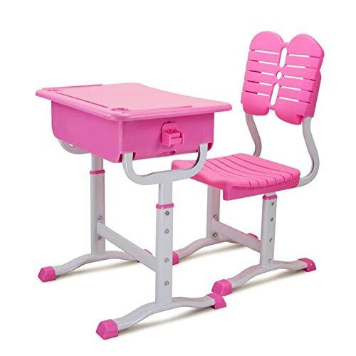 Tische Stühle Verstellbare Höhe Schulmöbel Bücherbox Buch-Tasche Haken Studentische Schreibtische Kinder Klassenzimmer Öffnen Sie Die Rezeption CJC (Farbe : Rosa) - Pink Kaffee-tisch-bücher