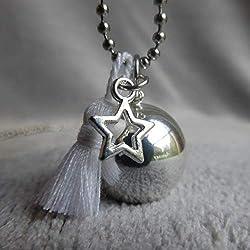 Bola de Grossesse avec chaine Rath, PERSONNALISABLE, argenté avec pompon blanc et étoile évidée